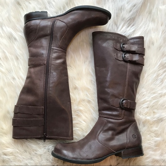 5709b2373 Born Shoes | Tall Brown Leather Boots Buckle 9 | Poshmark